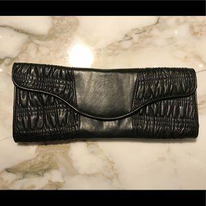 Handbags - Vintage black leather ruched clutch
